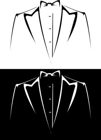 Serie de vector. esmoquin con moño sobre un fondo blanco y negro Foto de archivo