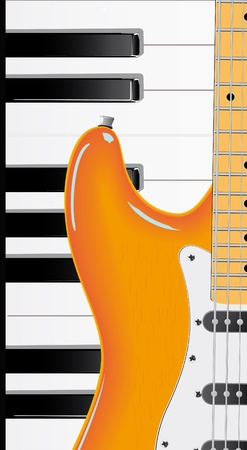 Vector series. Guitar and piano keyboard Stock Photo - 9618907