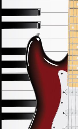 Serie de vector. Teclado de guitarra y piano