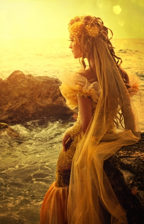 legend: Series. Young beautiful girl in the image of a mermaid