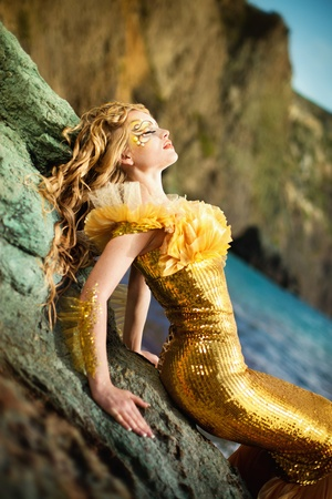 fairy tale mermaid: Series. Young beautiful girl in the image of a mermaid