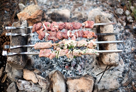 Series. Preparation of meat slices in sauce on fire photo
