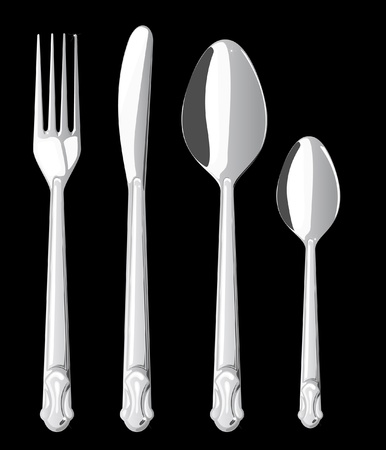 Vector series. Fork spoon and knife isolated on white background photo