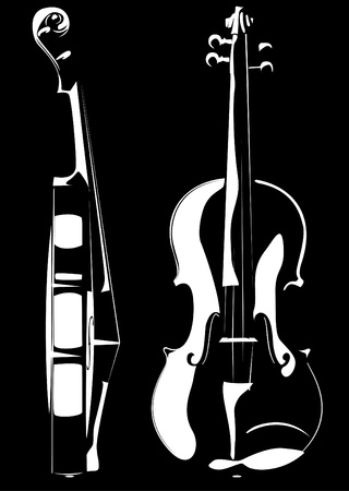 Vector. A violin contour on white and on a black background photo