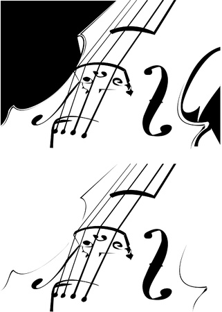 violoncello: Vector. A violin contour on white and on a black background