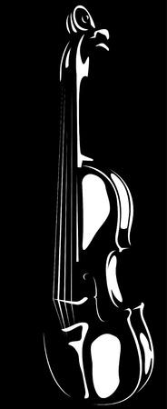 Vector. Un contorno de violín en blanco y sobre un fondo negro