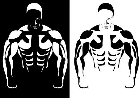 defined: Serie. Il profilo dell'atleta sullo sfondo in bianco e nero. vettore Archivio Fotografico