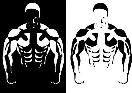Series. The contour of the athlete on the black and white background. vector