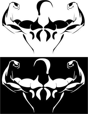 Series. The contour of the athlete on the black and white background. vector photo