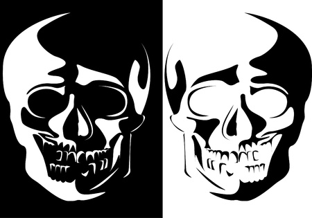 Series. Vector image of a human skull on a black and white background photo