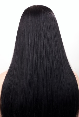 young woman with beautiful black hair photo