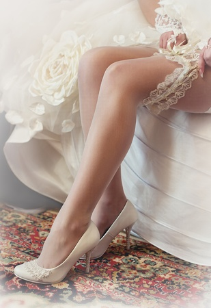 cinderella shoes: Series. Beautiful leg of the young bride