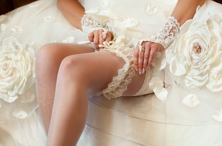 Series. Beautiful leg of the young bride