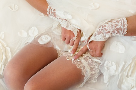 Series. Beautiful leg of the young bride photo