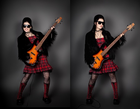 rocked: series. Fashion style photo of young rocked woman in studio  with guitar