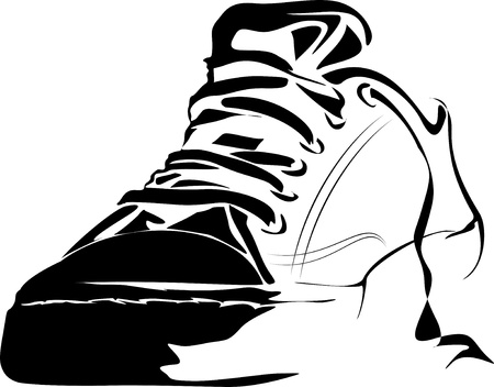 Line Art Shoes : Black and white sport shoes on background stock photo