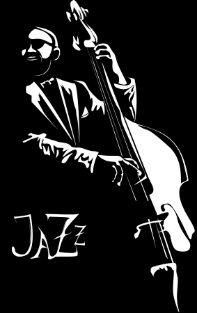 jazz music: series - Old jazz men with the favourite contrabass