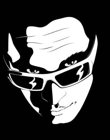 macho man: vector face man  design element