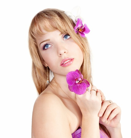 Series. Beautiful girl with pink flowers Stock Photo - 13395738