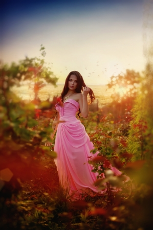 The beautiful harmonous girl in a long pink dress  Stock Photo - 13878072
