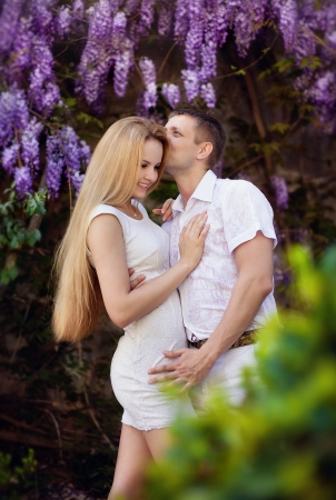 Portrait of young happy smiling cheerful attractive couple together, outdoors Stock Photo - 13902893
