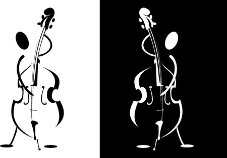 contrabass: Contour of the musician playing on the instrument