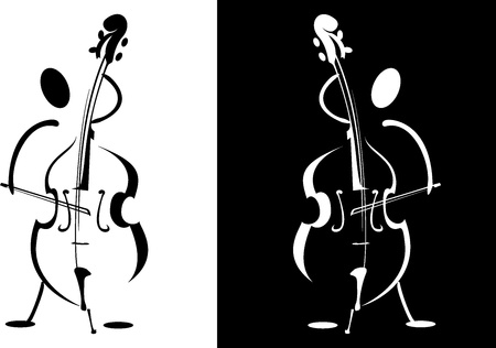 Contour of the musician playing on the instrument