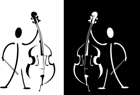 Contour of the musician playing on the instrument photo