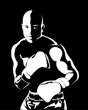 man yelling: Boxer Man Silhouette on black background Stock Photo