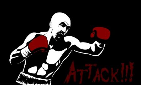 Boxer Hombre Silueta sobre fondo negro