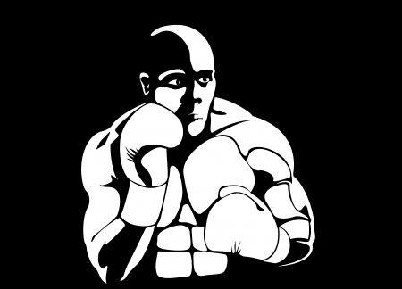 Boxer Man Silhouette on black background photo