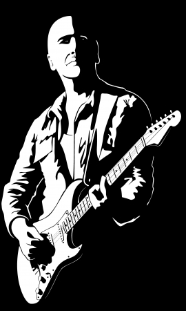 guy playing guitar: The vector image of the man with a guitar