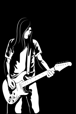 The vector image of the man with a guitar photo