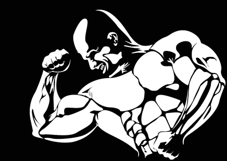 forearms: contour of the athlete on the black background  vector