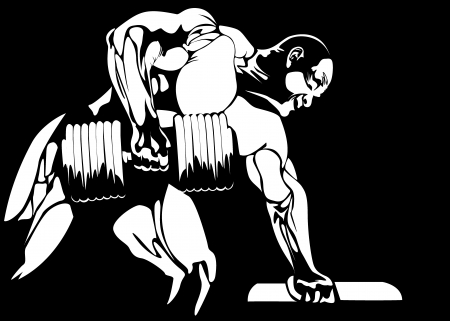 powerlifting: contour of the athlete on the black background  vector
