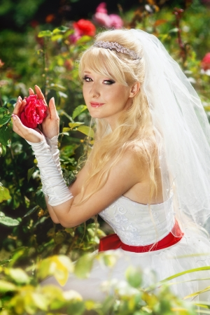 Very beautiful blonde in a wedding dress. Stock Photo - 16624321