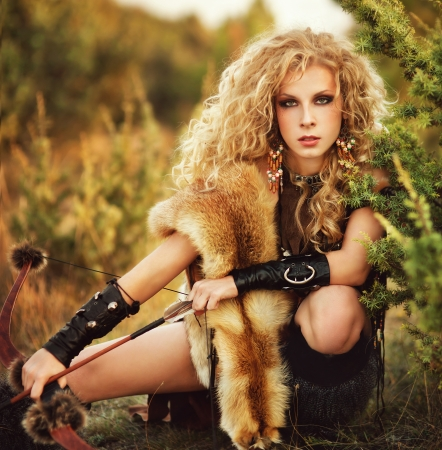 attractive woman warrior Stock Photo