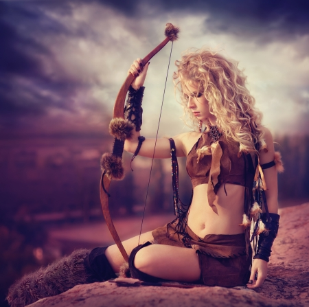 archer: attractive woman warrior Stock Photo