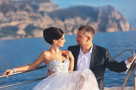 beautiful bride on the yacht photo