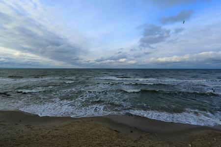 sea, sky, shore, beach, aqua, clouds, snow, winter, nature, landscape, wave, Baltika