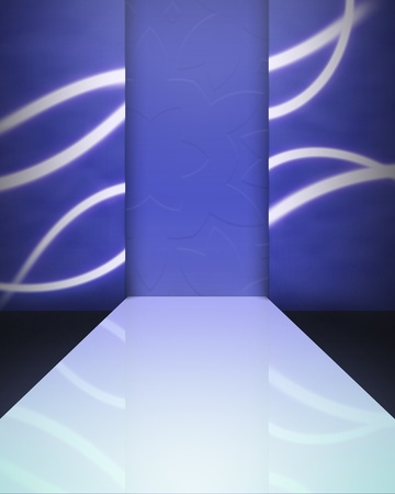 Image background - an empty catwalk in blue colors photo