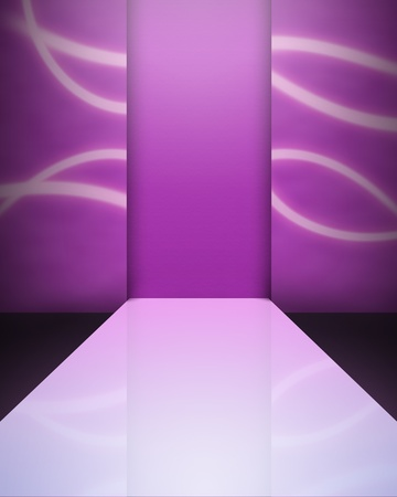 Image background - an empty catwalk in magenta colors