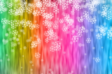 rainbow stripe: Abstract backdrop with snowflakes painted in rainbow colors