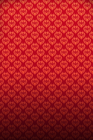 crimson colour: Old style papered wall in scarlet color