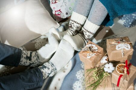 Christmas wool socks composition close-up 스톡 콘텐츠