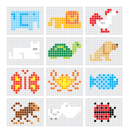 Pelican: Set of vector pixel sketch animals
