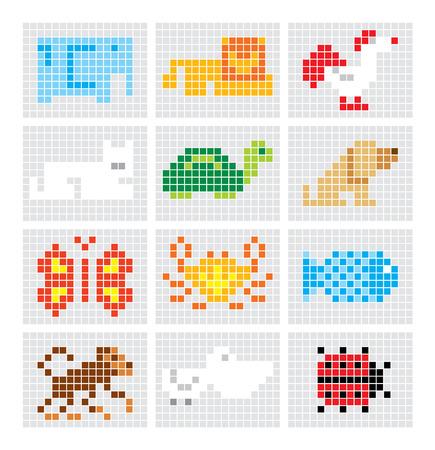 pelican: Set of vector pixel sketch animals