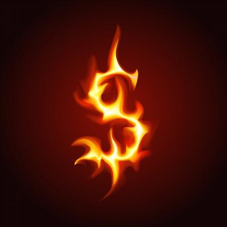 burning money:  Dollar sign of fire  Vector illustration