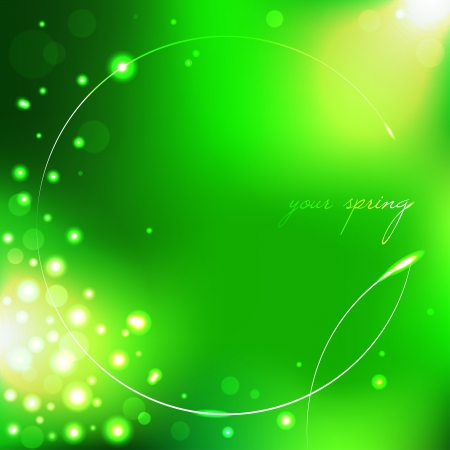 Spring green background with leaf  Vector illustration