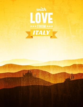 トスカーナの風景とビンテージのポスター